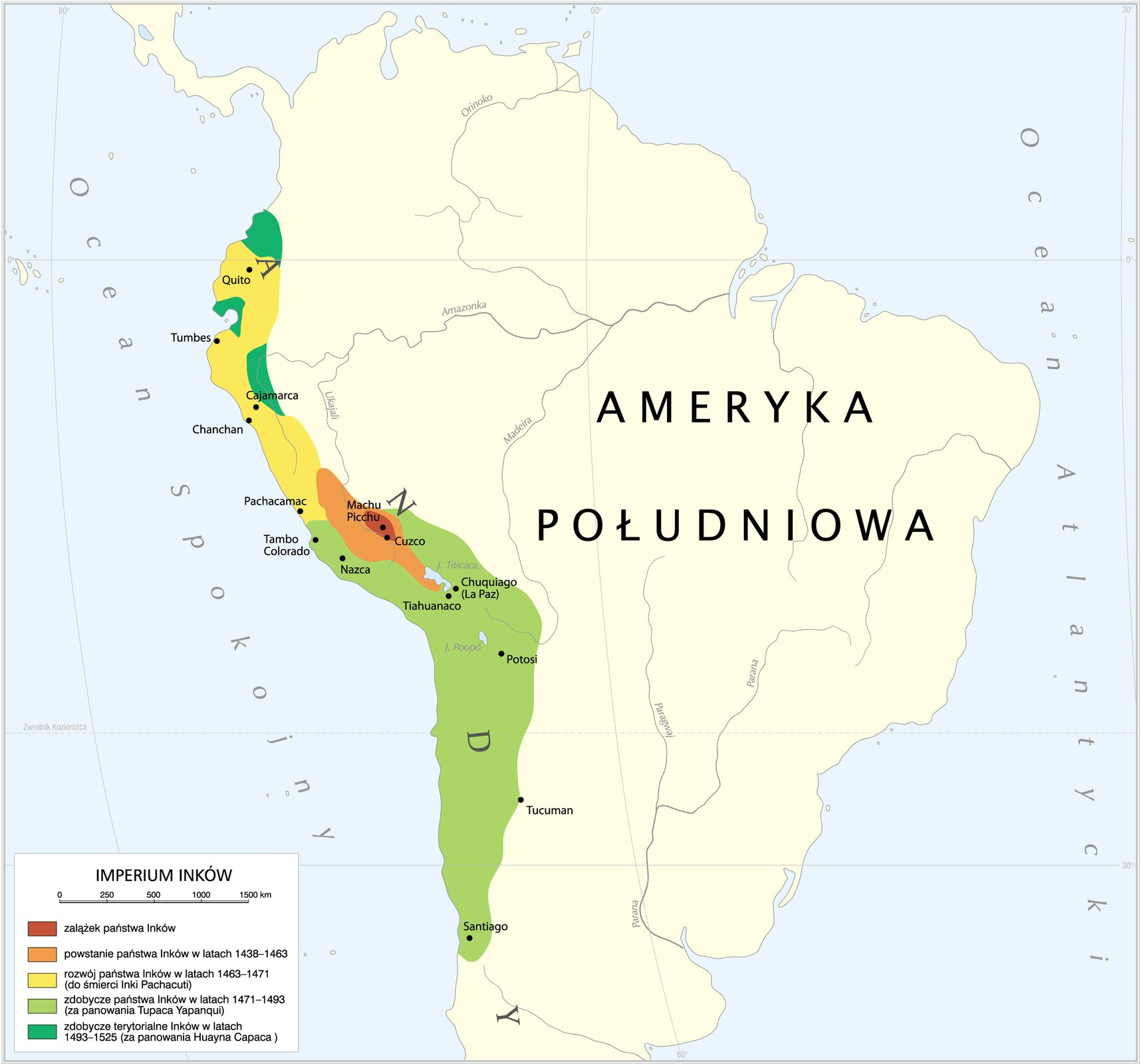 Mapa imperium Inków zpodziałem na lata podbojów poszczególnych terenów Mapa imperium Inków zpodziałem na lata podbojów poszczególnych terenów Źródło: Krystian Chariza izespół, licencja: CC BY 4.0.
