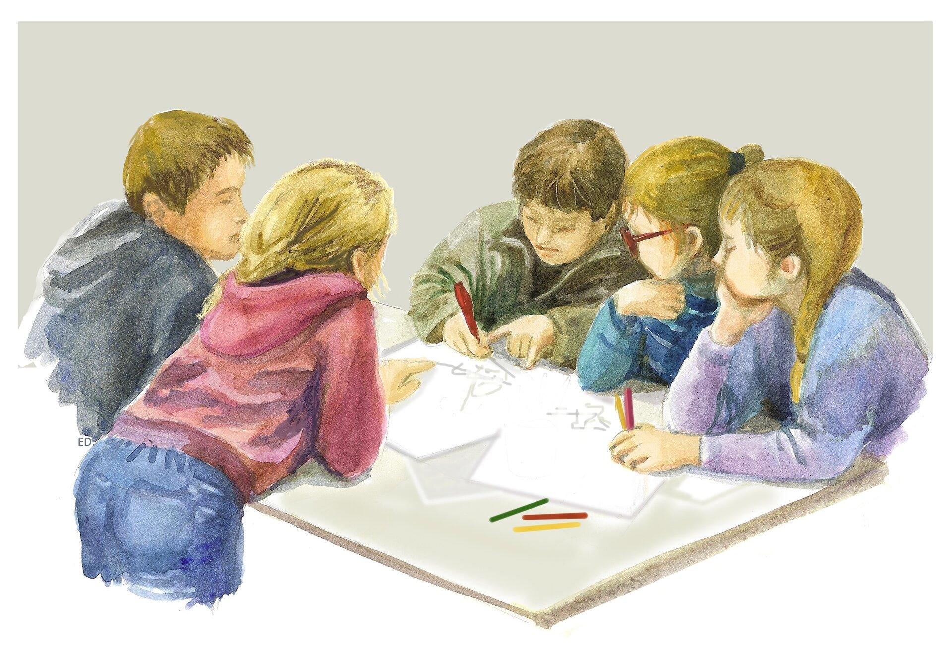 Ilustracja przedstawiająca dzieci pracujące wzespole