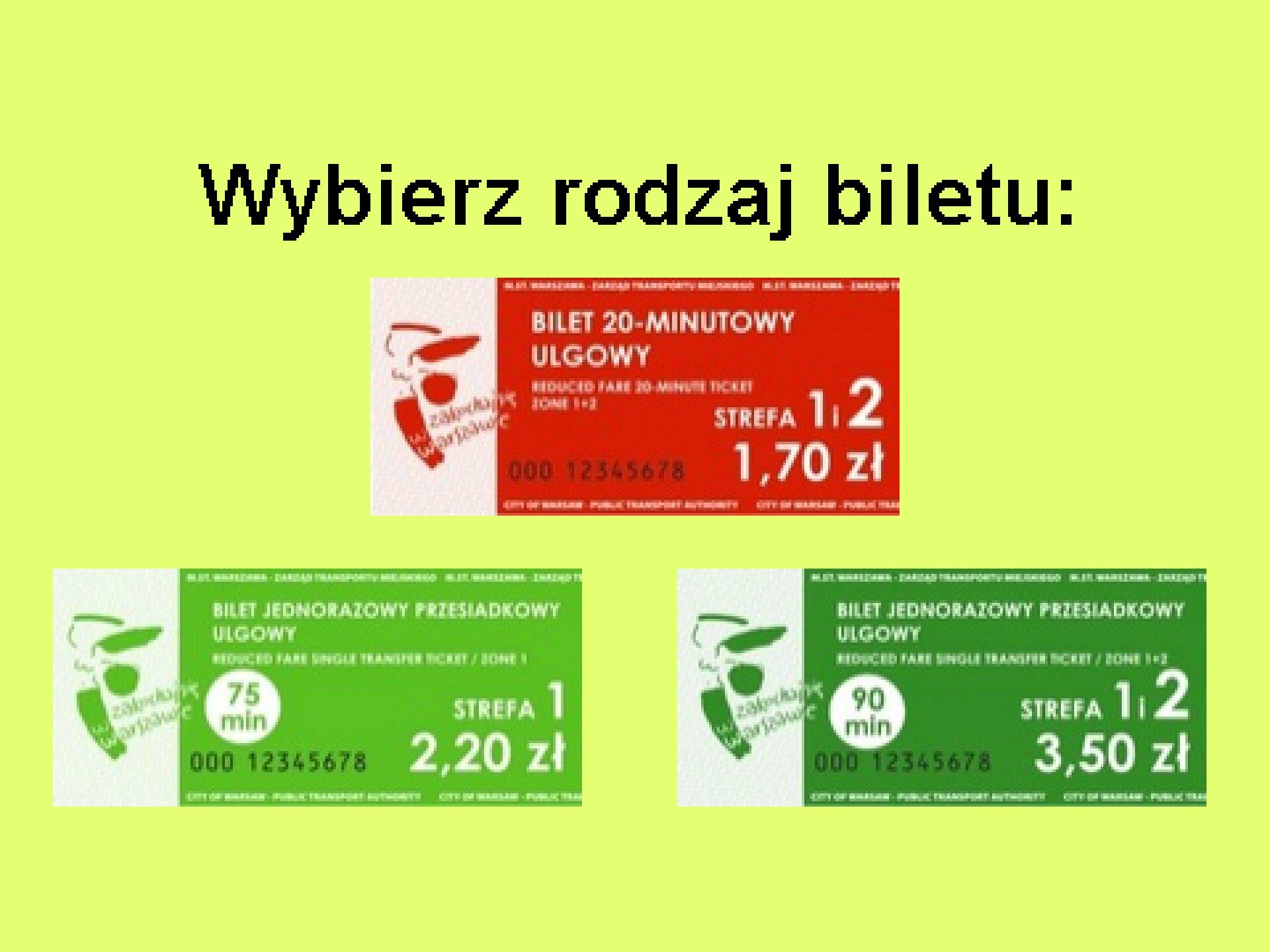 Ilustracja przedstawiająca ekran: Wybierz rodzaj biletu