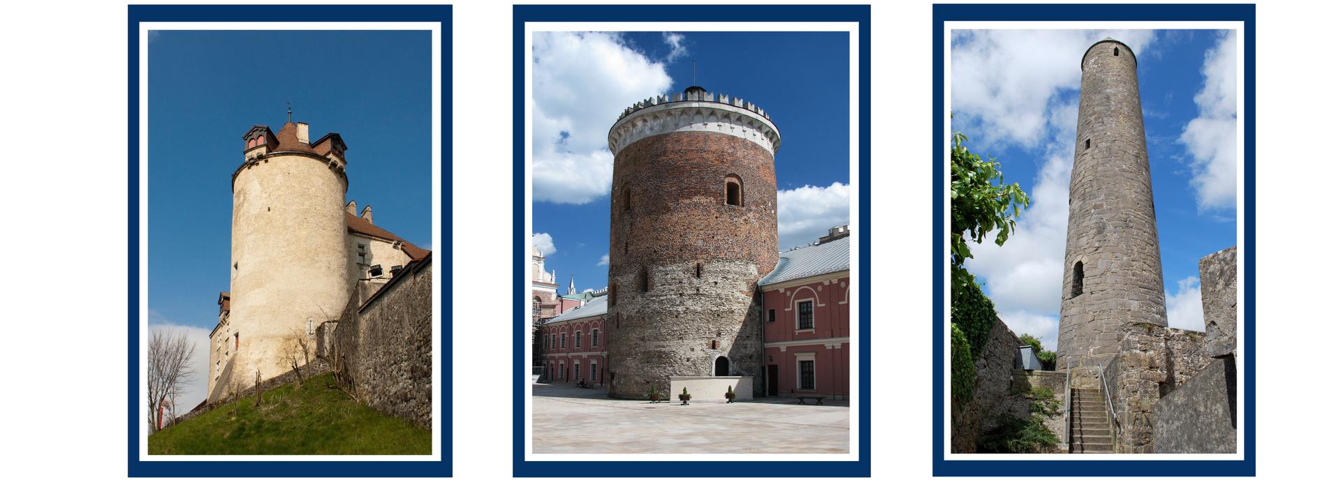 Zdjęcia trzech różnych budowli wkształcie okrągłej wieży.