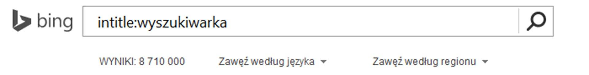 Zrzut paska wyszukiwarki Bing zwpisanym tekstem oraz Intitle