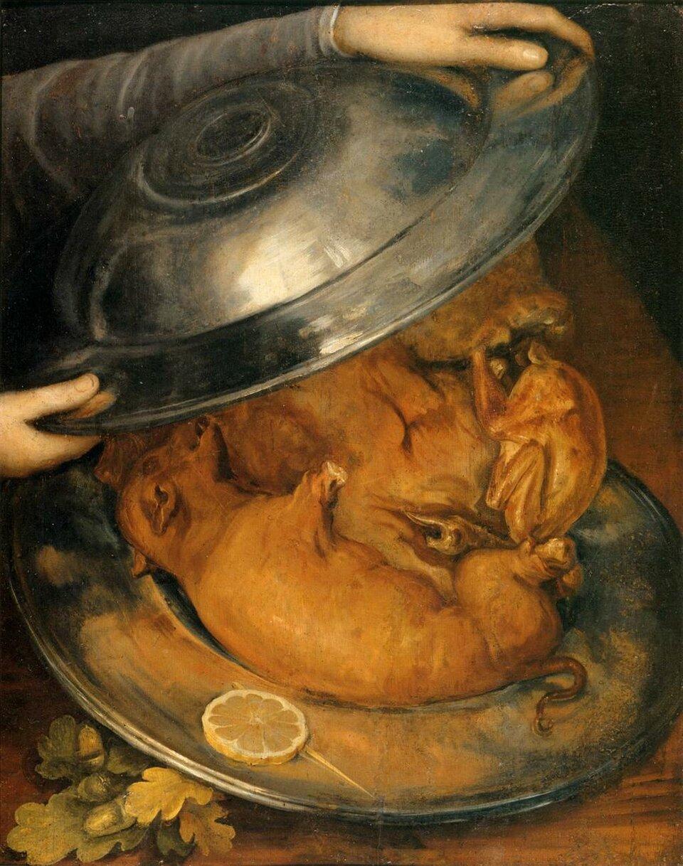 Obiad Źródło: Giuseppe Arcimboldo, Obiad, ok. 1570, olej na desce, Muzeum Narodowe wSztokholmie, domena publiczna.
