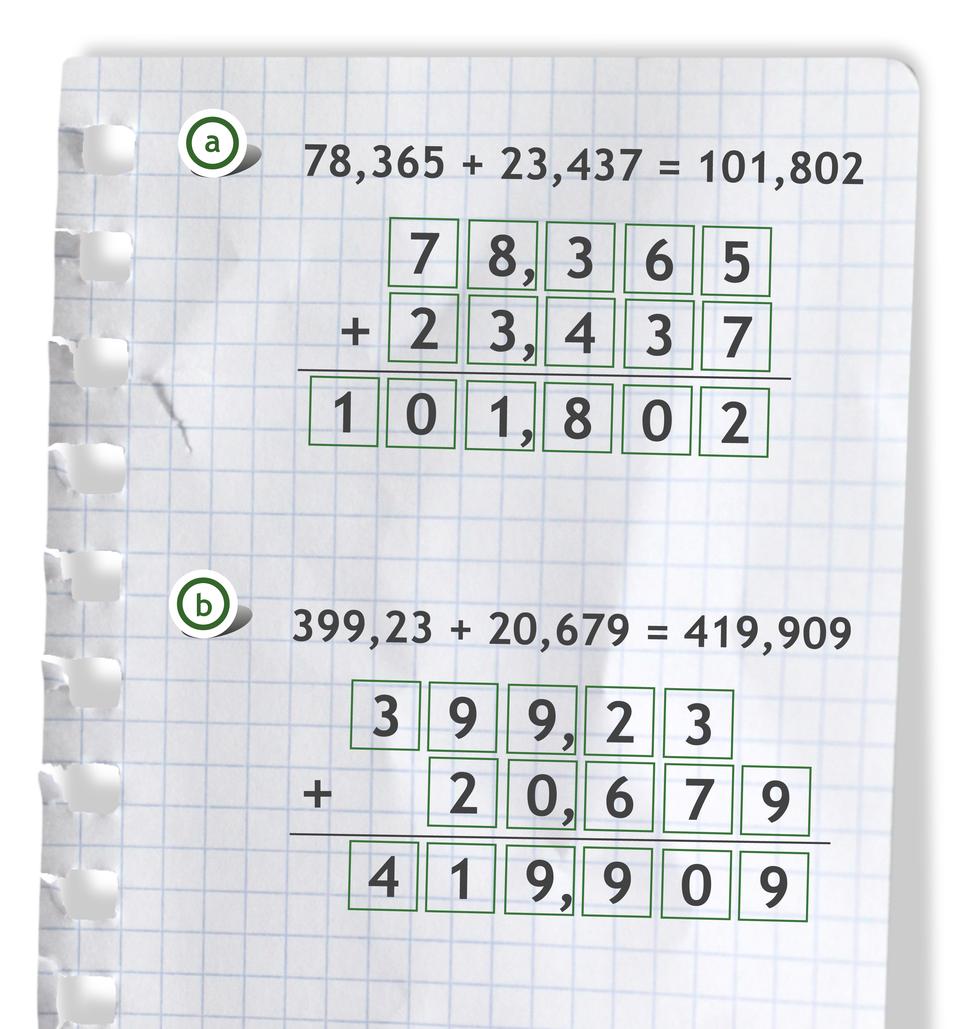 """""""Przykłady: 78,365 +23,437 =101,802"""