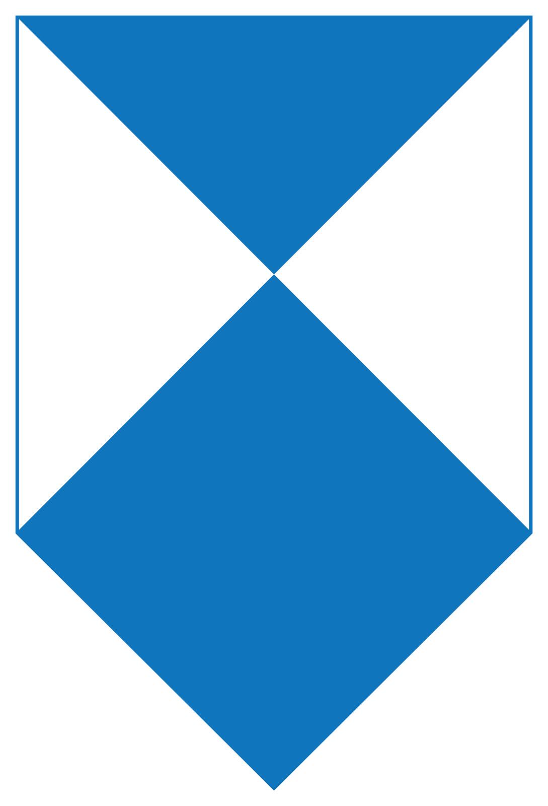 Ilustracja przedstawia znak wformie piktogramu ułożonego wpionie. Piktogram wkształcie kwadratu. Kwadrat podzielony na trzy trójkąty. Niebieski wzdłuż górnej krawędzi kwadratu skierowany wierzchołkiem wdół, do wnętrza. Dwa białe trójkąty po obu stronach kwadratu. Podstawy wzdłuż boków kwadratu. Wierzchołki skierowane do środka kwadratu. Wszystkie trójkąty stykają się wierzchołkami wcentralnym punkcie kwadratu. Wdole piktogramu niebieski kwadrat wierzchołkiem skierowany do środka piktogramu. Przeciwległy wierzchołek niebieskiego kwadratu skierowany wdół.
