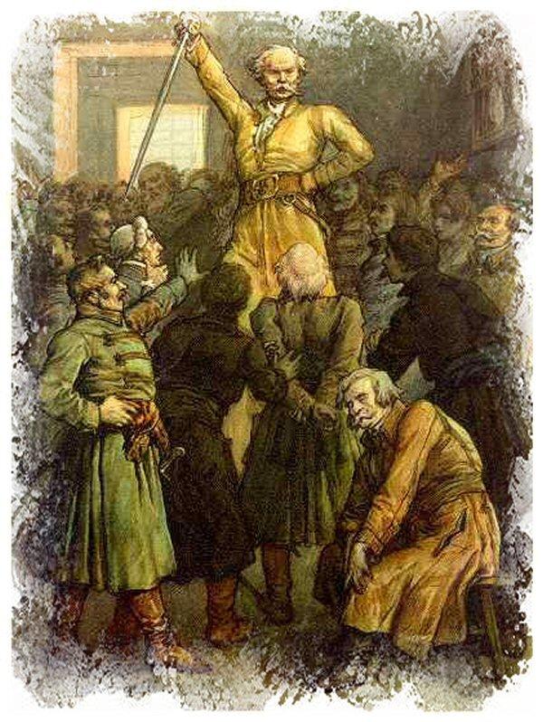 Gerwazy Rębajło Ilustracja doPana TadeuszaAdama Mickiewicza, Księga VII. Źródło: Michał Elwiro Andriolli, Gerwazy Rębajło, 1881, domena publiczna.