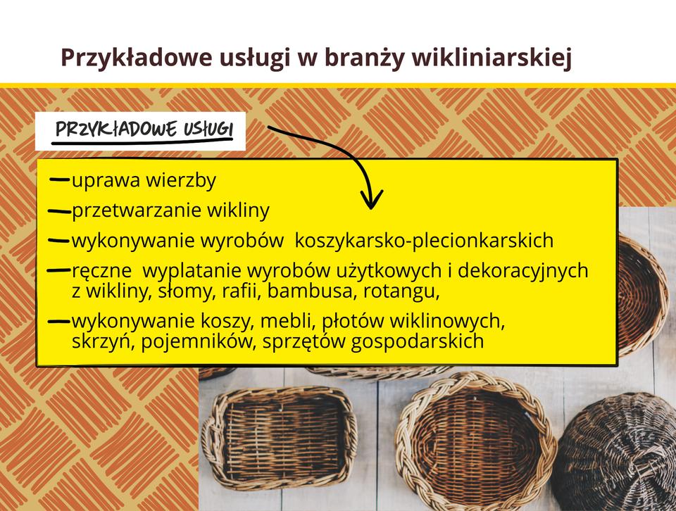 Grafika prezentuje przykładowe usługi wbranży wikliniarskiej.