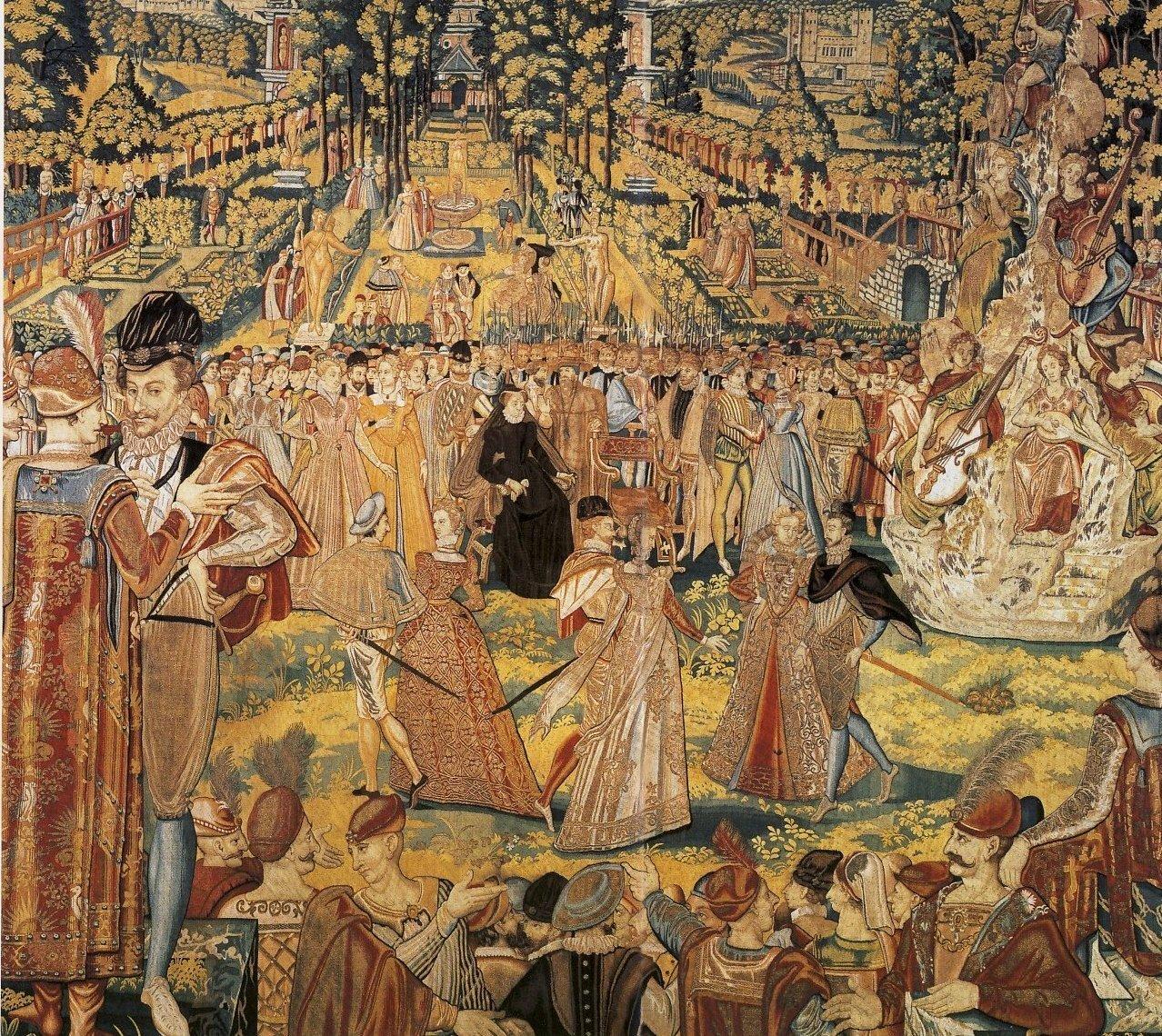 Tapiserie (arrasy) zamówione w1580 r. przez królową wdowę Katarzynę Medycejską do Luwru. Przedstawiają bal wydany wParyżu w1573 roku na cześć poselstwa polskiego, które przybyło po elekcji Henryka Walezego, domena publiczna