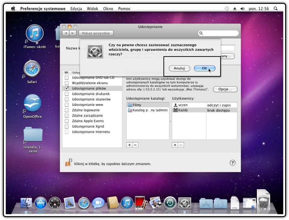 Ilustracja przedstawiająca: Krok 7 udostępniania innych katalogów wsystemie Mac OS X