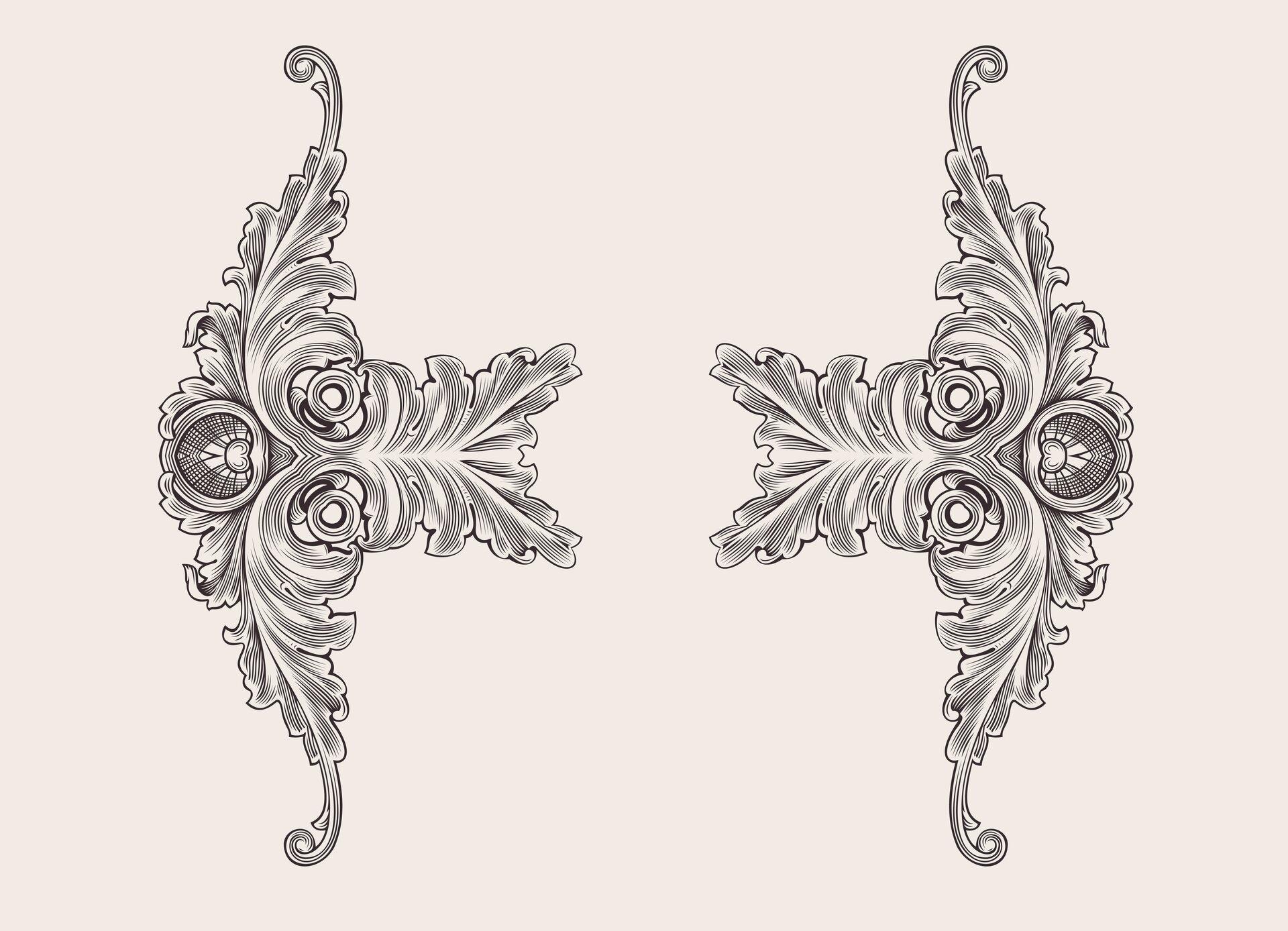Ilustracja przedstawia motyw rocaille. Jest to motyw dekoracyjny wpostaci ornamentu charakterystyczny dla zdobnictwa architektury rokokowej.