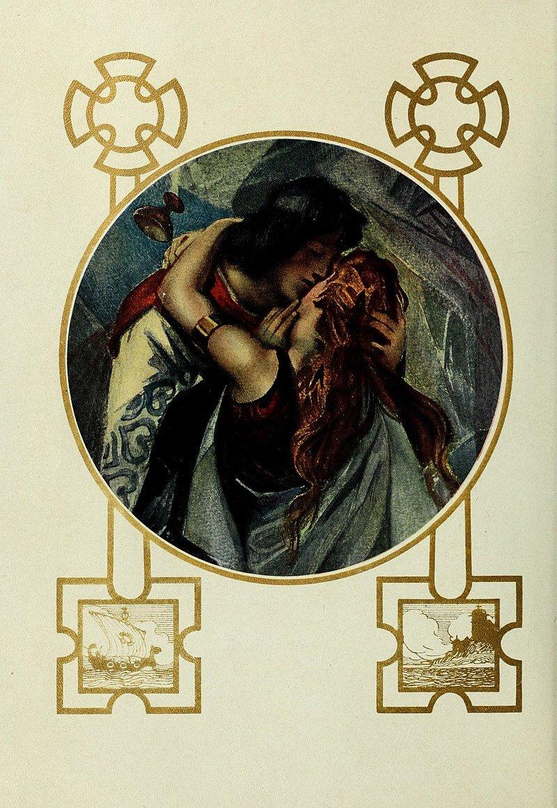 Obraz przedstawia kobietę imężczyznę, którzy się obejmują. Kobieta jest tyłem do obserwatora obrazu. Ma długie włosy. Mężczyzna zczułością całuje kobietę wpoliczek. Jedną dłoń ma położoną na głowie kobiety, druga trzyma przy jej policzku. Kobieta obejmuje mężczyznę za szyję.