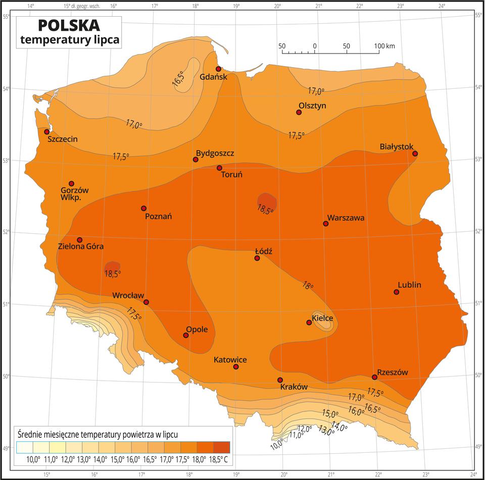 Ilustracja przedstawia mapę Polski. Na mapie odcieniami koloru pomarańczowego iżółtego zaznaczono średnie miesięczne temperatury powietrza wlipcu. Wcentralnej części mapy kolor jest najciemniejszy, wkierunku północnym ipołudniowym przechodzi wjaśniejszy. Południowe krańce Polski (tereny górzyste) są wnajjaśniejszym kolorze żółtym. Na izotermach opisano średnią miesięczną temperaturę lipca co jeden stopień od dziesięciu do szesnastu stopni, adalej co pół stopnia – aż do osiemnastu ipół stopnia. Czerwonymi punktami zaznaczono miasta wojewódzkie. Mapa pokryta jest siatką równoleżników ipołudników. Dookoła mapy jest biała ramka, wktórej opisane są współrzędne geograficzne co jeden stopień. Poniżej mapy wlegendzie umieszczono prostokątny poziomy pasek. Pasek podzielono na trzynaście kolorów. Zlewej strony jasnożółte, środek jasnopomarańczowy, zprawej najciemniejsze odcienie koloru pomarańczowego. Każda część paska obrazuje jednostopniowy (powyżej szesnastu stopni – półstopniowy) przedział średniej miesięcznej temperatury powietrza wlipcu od dziesięciu stopni Celsjusza (kolory żółte) do ponad osiemnastu stopni Celsjusza (kolory pomarańczowe).