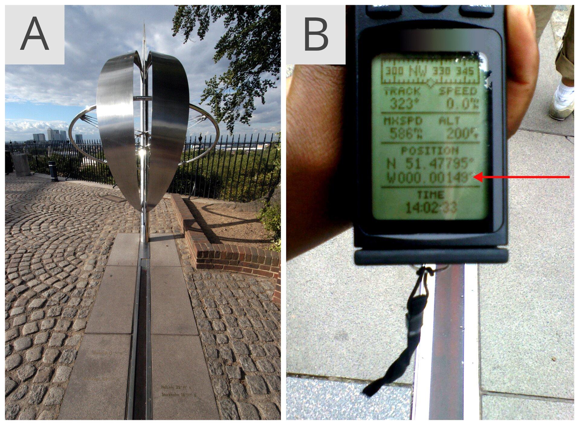 Zdjęcie Ailustruje wykonany zmetalu pomnik południka zerowego wGreenwich. Wpionie znajdują się dwa półokręgi umiejscowione równolegle do siebie. Za półkręgami widać metalowy okrąg umieszczony pod kątem prostym do półokręgów. Całość zamocowana jest na metalowej cienkiej rurze. Zdjęcie Bprzedstawia odbiornik GPS zdużym wyświetlaczem. Czerwona strzałka po prawej stronie wskazuje dokładne położenie nad symbolicznym południkiem zero. Inie jest to dokładnie zero stopni, asto czterdzieści dziewięć stutysięcznych stopnia długości geograficznej zachodniej.