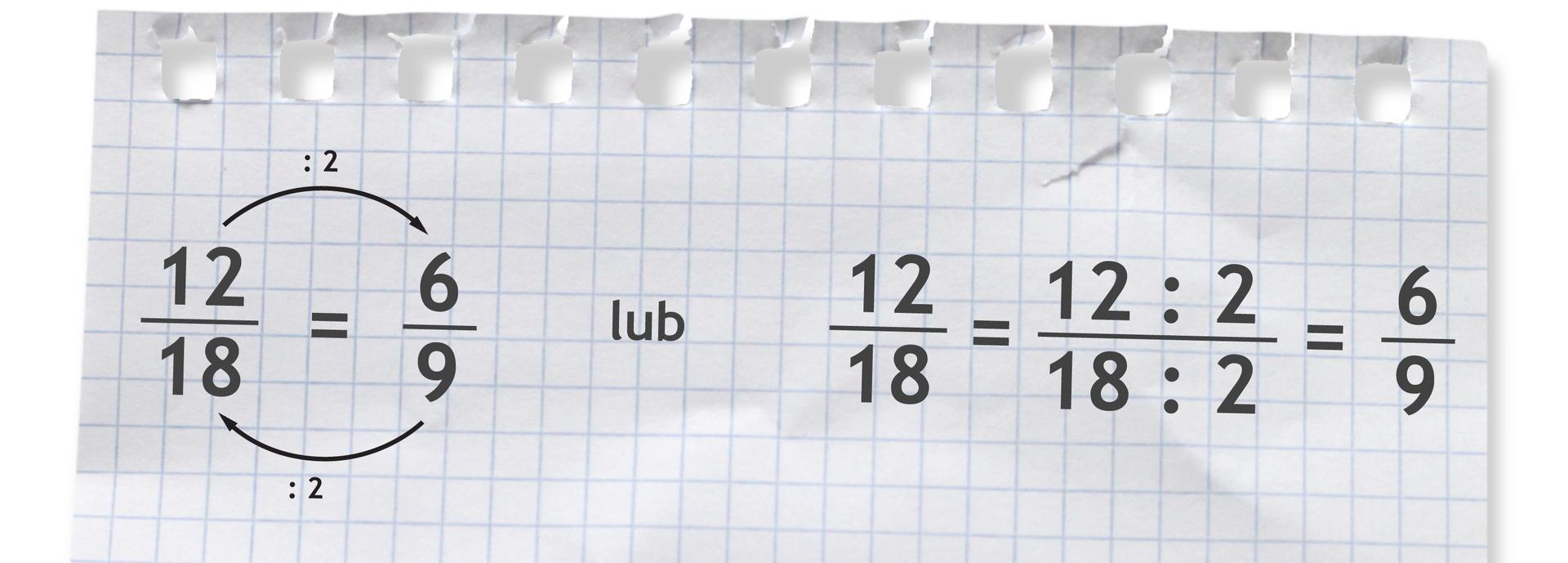 Przykład: ułamek dwanaście osiemnastych. Dzielimy licznik imianownik tego ułamka przez 2. Po skróceniu ułamek dwanaście osiemnastych równa się sześć dziewiątych.