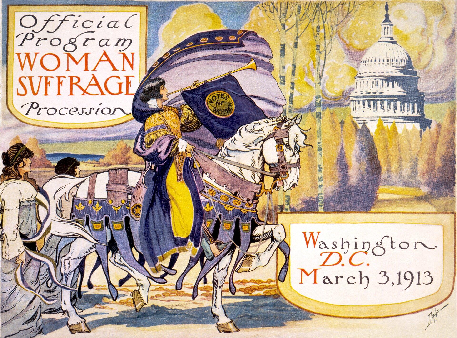 Oficjalny program marszu amerykańskich sufrażystek Źródło: Benjamin Moran Dale, Oficjalny program marszu amerykańskich sufrażystek, 1913, domena publiczna.