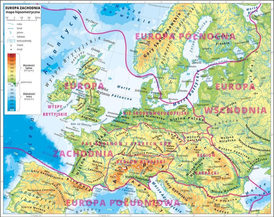 Podział Europy Zachodniej na główne obszary (prowincje)