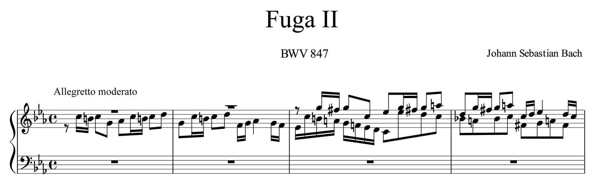 """Ilustracja przedstawia zapis nut utworu """"Fuga c-moll"""", takty 1–4, autorstwa: Jana Sebastiana Bacha."""