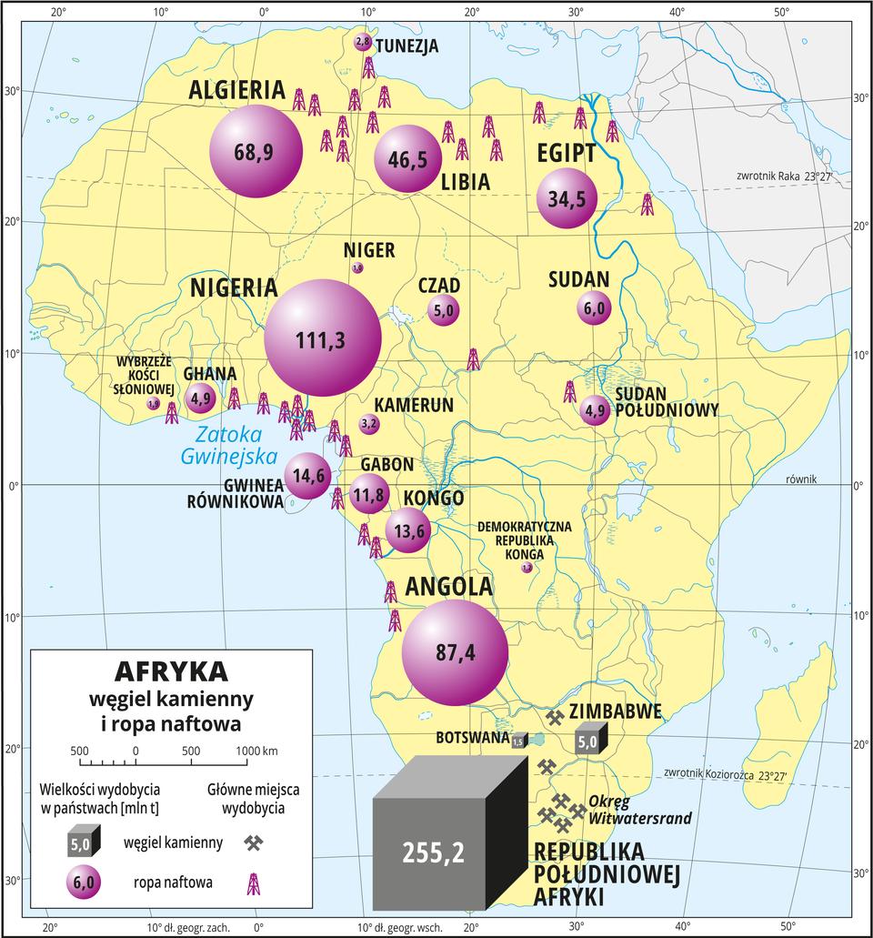 Ilustracja przedstawia mapę gospodarczą Afryki. Tło żółte. Na mapie odmiennymi sygnaturami oznaczono miejsca wydobycia węgla kamiennego iropy naftowej oraz wielkość wydobycia wpaństwach. Węgiel kamienny – miejsca wydobycia: Republika Południowej Afryki (OkręgWitwatersrand), Zimbabwe iBotswana. Wielkość wydobycia węgla kamiennego wRepublice Południowej Afryki – 255 milionów ton, wZimbabwe – 5 milionów ton. Ropa naftowa – miejsca wydobycia: zachodnie wybrzeże nad Zatoką Gwinejską, północna część kontynentu. Największe wydobycie: Nigeria – 111 milinów ton, Angola – 87 milionów ton, Algieria – 68 milionów ton, Libia – 46 milionów ton, Egipt – 34 miliony ton, dalej – Gwinea Równikowa, Kongo, Gabon, Sudan, Czad, Ghana, Sudan Południowy, Kamerun. Morza zaznaczono kolorem niebieskim, opisano Zatokę Gwinejską. Mapa pokryta jest równoleżnikami ipołudnikami. Dookoła mapy wbiałej ramce opisano współrzędne geograficzne co dziesięć stopni.