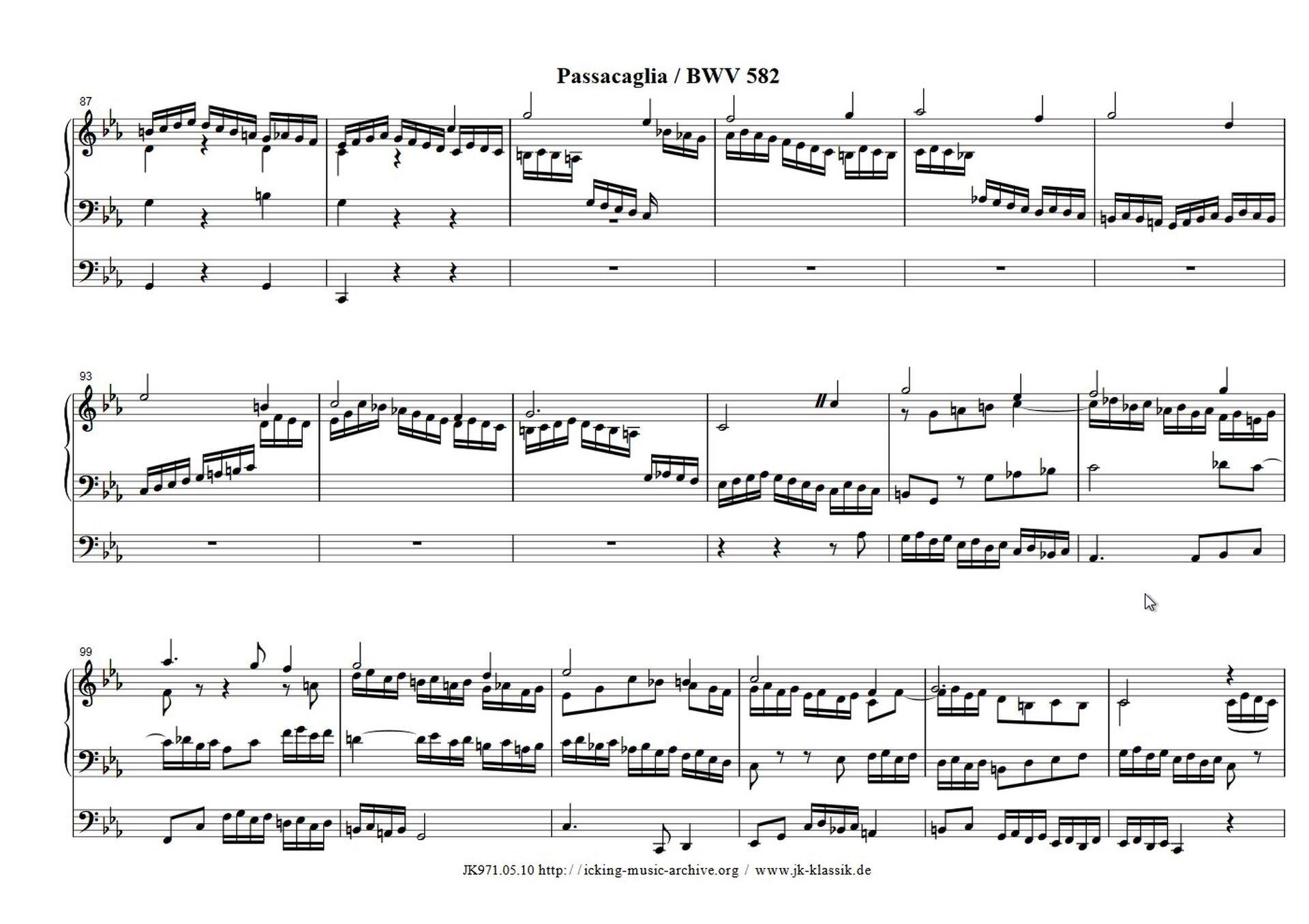 """Ilustracja przedstawia partyturę. Na pięciolinii zostały zaznaczone notacje muzyczne utworu Johanna Sebastiana Bacha – """"Passacaglia ifuga c-moll"""", takty 87–122."""