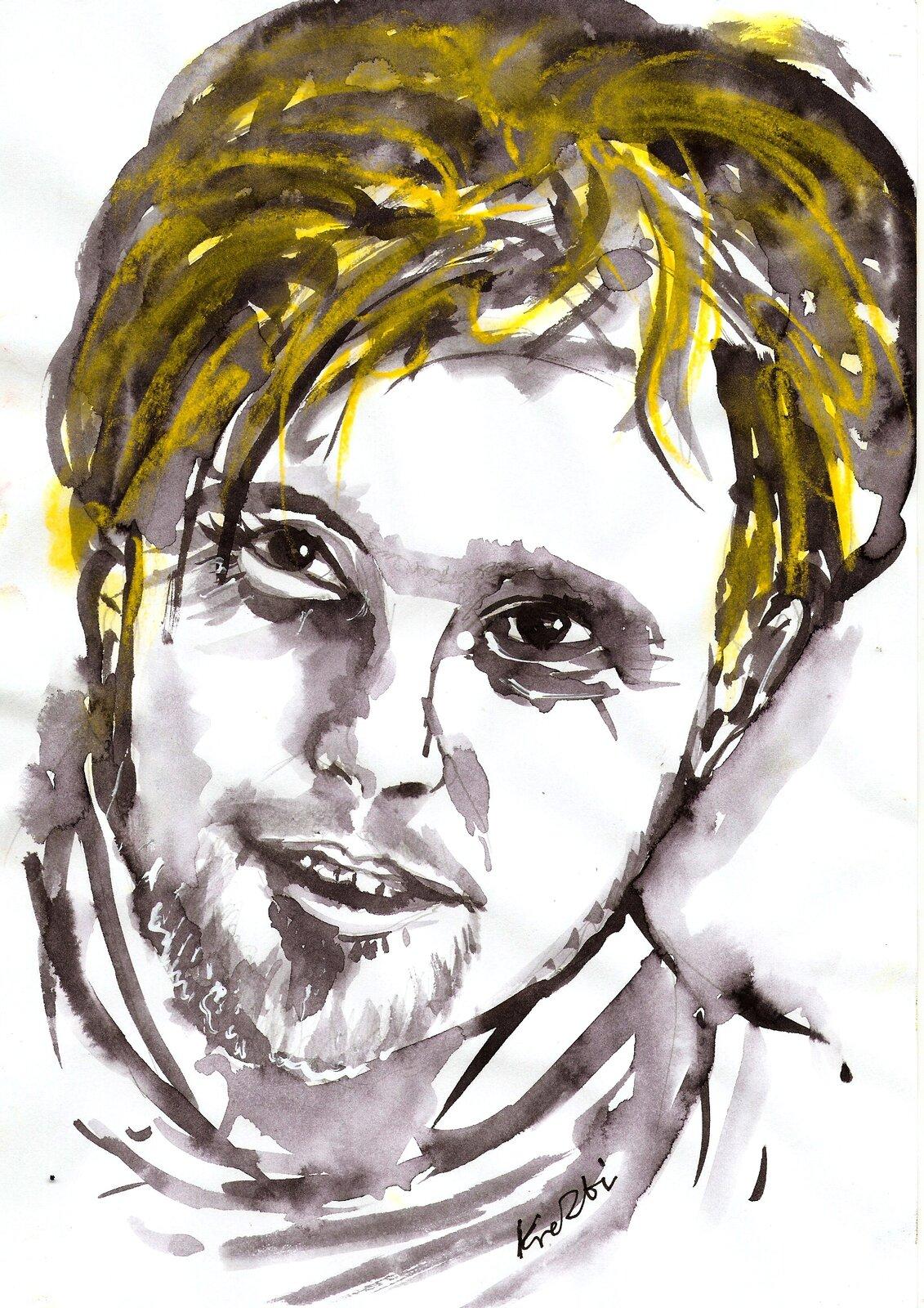 Ilustracja przedstawia portret polskiego muzyka Krzysztofa Komede autorstwa Zbigniewa Kresowatego.