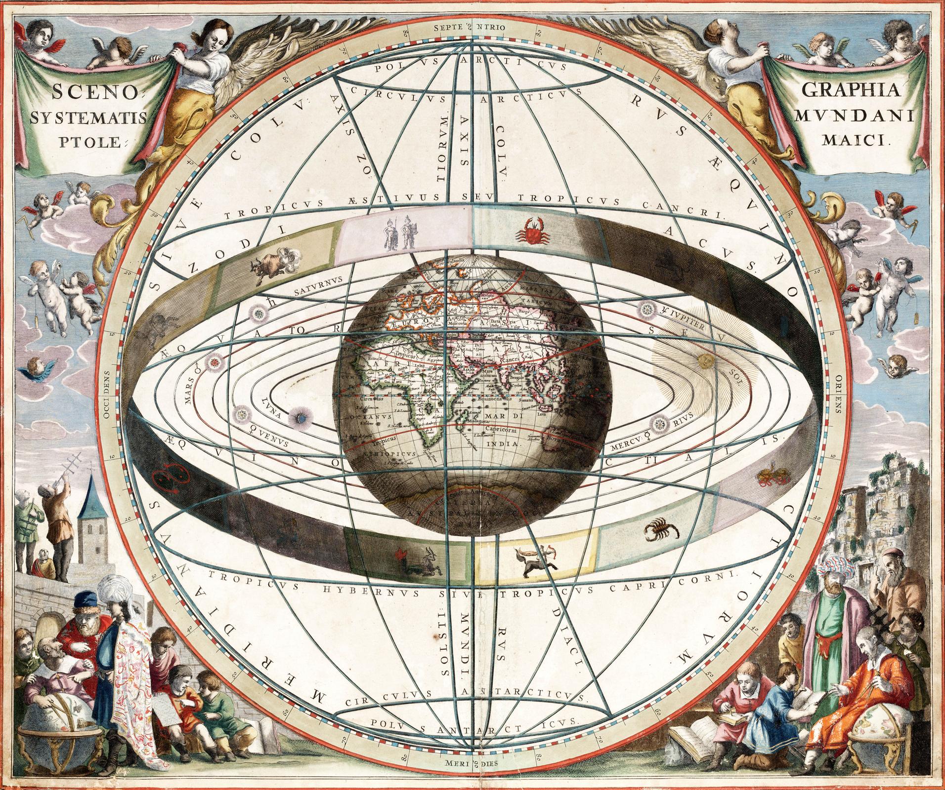 Rysunek obrazuje teorię geocentryczną. Wszechświat, to kula wśrodku której znajduje się duża Ziemia, dookoła niej po owalnych orbitach krążą planety iSłońce. Na obrzeżach układu ziemskiego narysowano wstęgę ze znakami zodiaku. Poza wszechświatem umieszczono anioły oraz sceny zróżnymi postaciami.