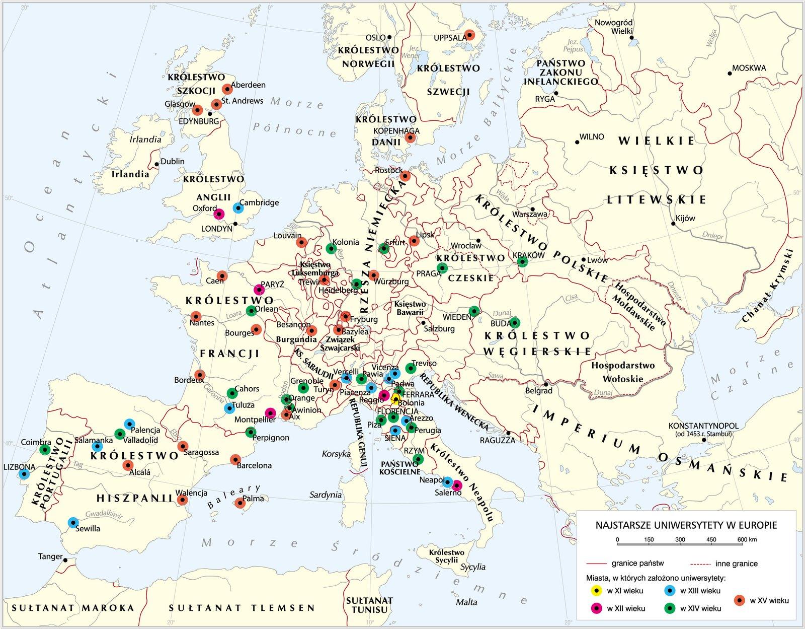 Najstarsze uniwersytety wEuropie Najstarsze uniwersytety wEuropie Źródło: Krystian Chariza izespół, licencja: CC BY 3.0.
