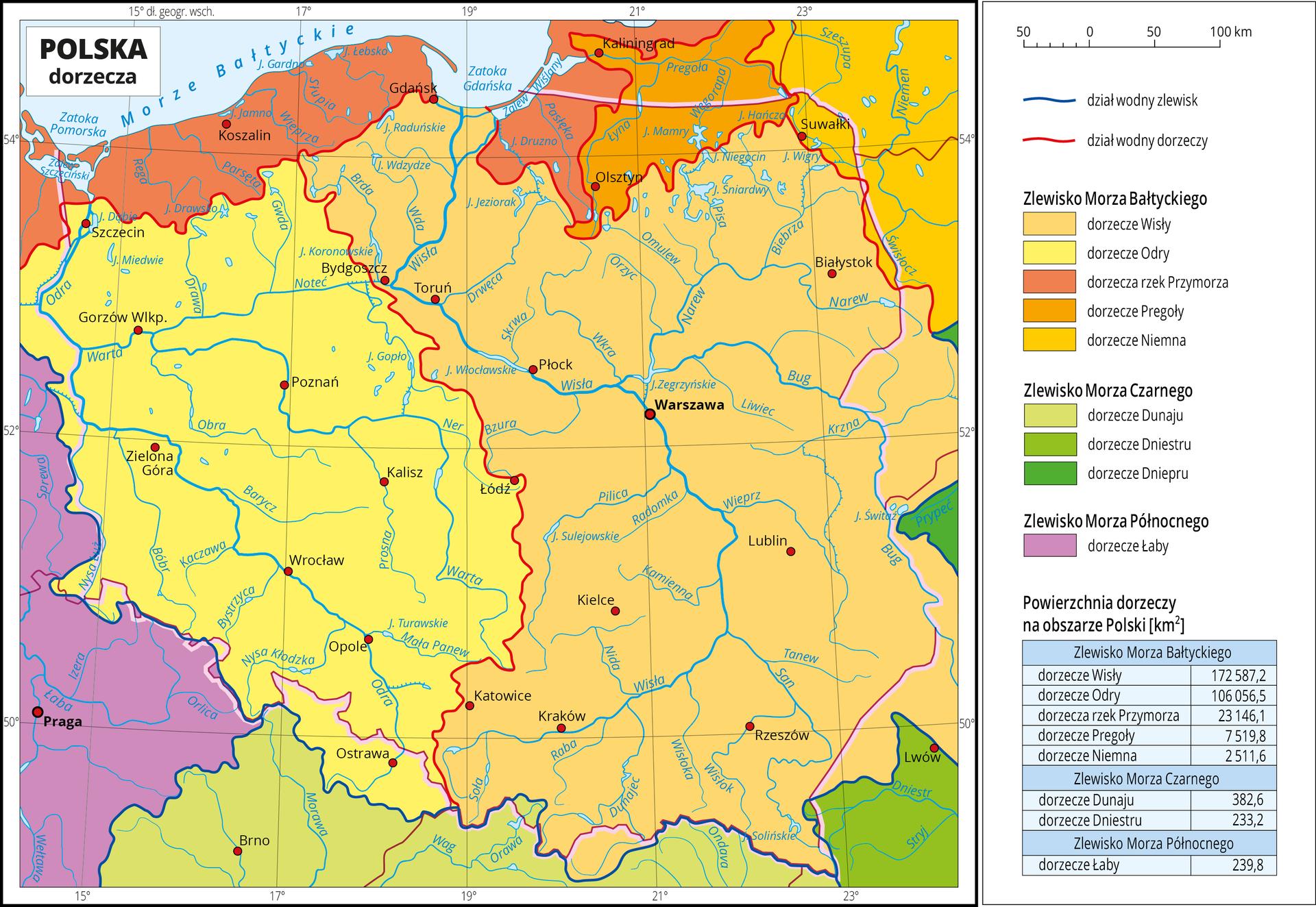 Ilustracja przedstawia mapę Polski. Na mapie granatową linią zaznaczono dział wodny zlewisk Morza Bałtyckiego, Morza Czarnego iMorza Północnego. Linia ta przebiega wzdłuż południowej granicy Polski wdużej mierze całkowicie się znią pokrywając. Kolorami oznaczono powierzchnie dorzeczy rzek na obszarze poszczególnych zlewisk. Kolory żółte ipomarańczowe obejmują zlewisko Morza Bałtyckiego czyli dorzecze Wisły, Odry, Pregoły, Niemna irzek Przymorza izajmują centralną oraz północną część mapy. Kolory zielone obejmują zlewisko Morza Czarnego czyli dorzecze Dunaju, Dniestru iDniepru iobejmują południową część mapy oraz niewielkie obszary wrejonie wschodniej granicy Polski. Kolorem fioletowym oznaczono zlewisko Morza Północnego, które na mapie pokrywa się zdorzeczem Łaby. Czerwoną linią przedstawiono działy wodne dorzeczy. Czerwonymi kropkami zaznaczono miasta wojewódzkie. Opisano rzeki ijeziora. Po prawej stronie mapy wlegendzie umieszczono wpionie dziewięć kolorowych prostokątów, które opisano nazwami dorzeczy. Poniżej podano tabelę zinformacjami na temat wielkości powierzchni poszczególnych dorzeczy.