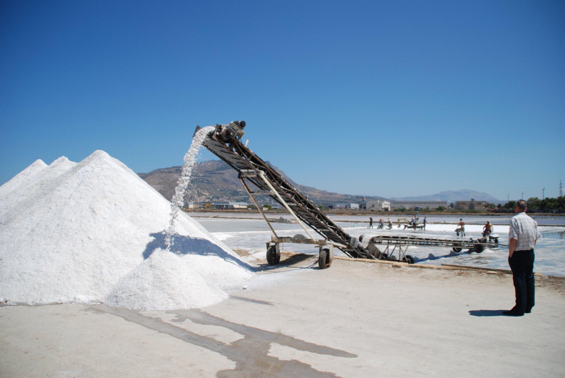 Na zdjęciu zlewej strony kilka kopców soli. Zprawej strony taśmociąg podaje kolejne porcje soli zebrane wprocesie naturalnego wyparowywania wody wbasenach solnych. Przy taśmociągu stoją pracownicy. Wtle góry.