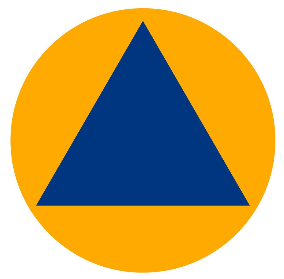 Ilustracja przedstawia duże żółte koło. Wśrodku koła umieszczony jest niebieski trójkąt równoboczny. Trójkąt ustawiony poziomo, nie dotyka wierzchołkami krawędzi koła.