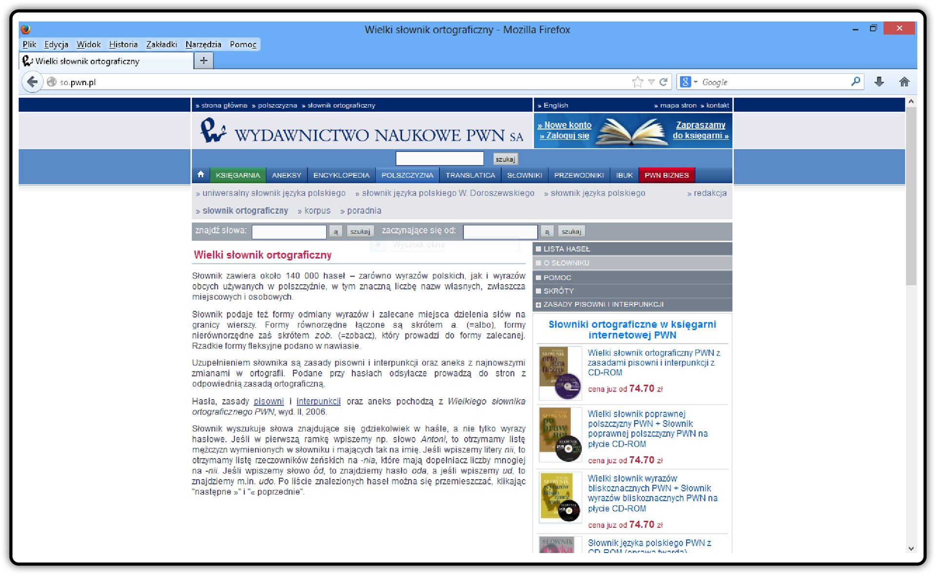 Zrzut okna strony http://netsprint.so.pwn.pl/