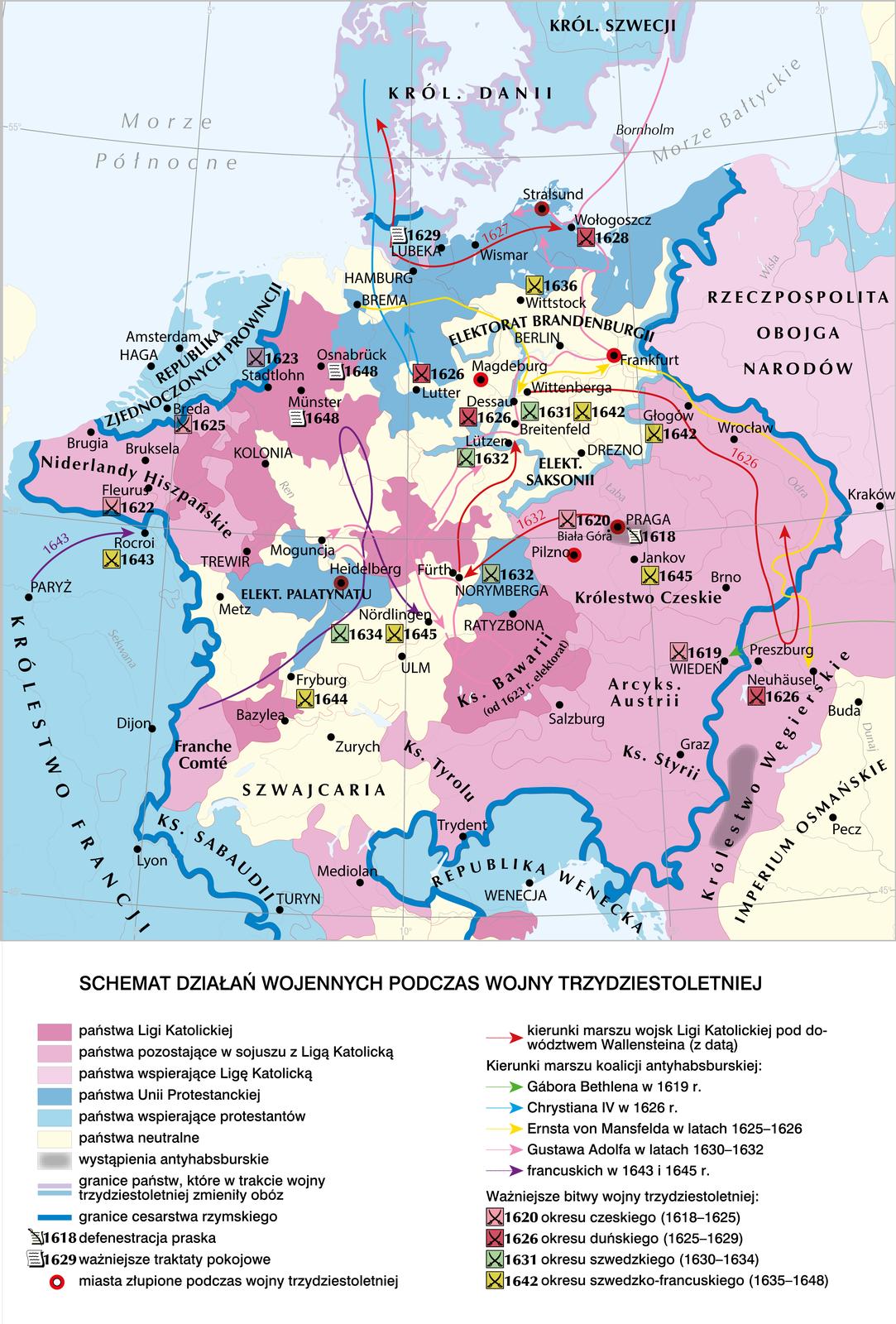 Schemat działań wojennych podczas wojny trzydziestoletniej Schemat działań wojennych podczas wojny trzydziestoletniej Źródło: Contentplus.pl sp. zo.o., licencja: CC BY 4.0.