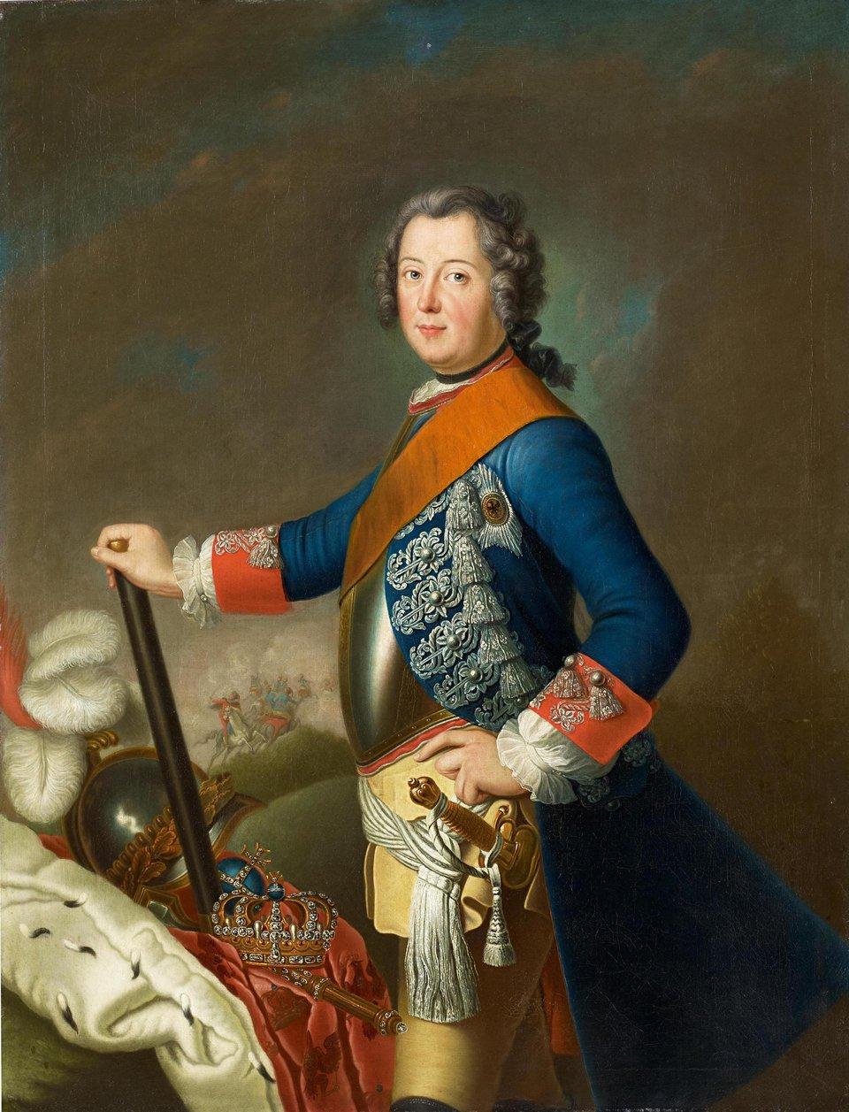 Fryderyk II Fryderyk II na portrecie zok.1740 r. Obraz przypisywany Davidowi Matthieu Źródło: David Matthieu, Fryderyk II, ok. 1740, Van Ham Kunstauktionen, domena publiczna.