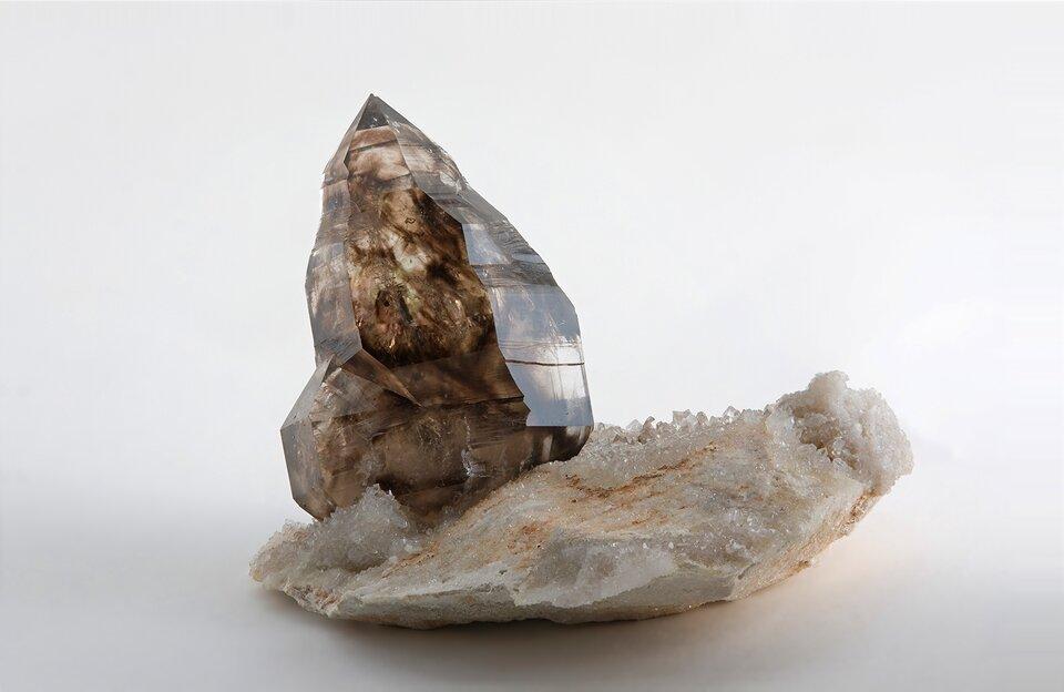 Zdjęcie przedstawia brązowy kryształ kwarcu dymnego wpostaci pojedynczego słupka na białej podstawie mineralnej pokrytej drobnymi białymi kryształkami. Tło białe.