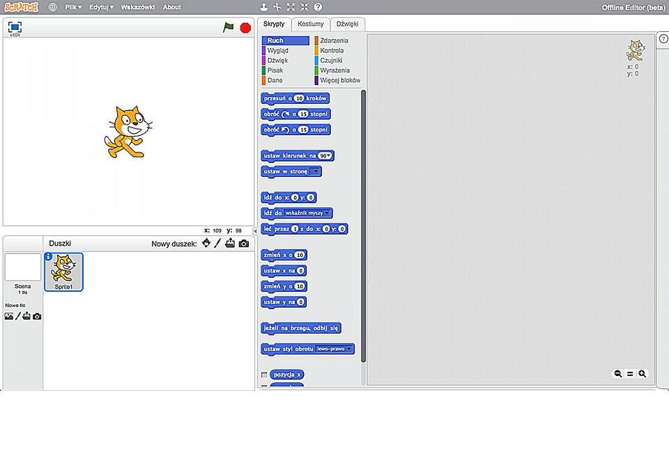 Interaktywne okno środowiska Scratch
