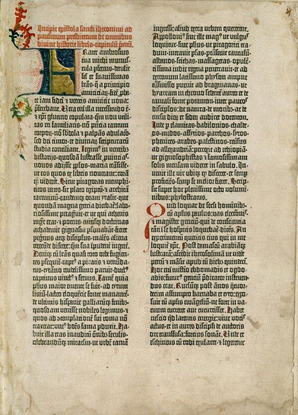 Karta zBiblii wydrukowanej przez Jana Gutenberga Karta zBiblii wydrukowanej przez Jana Gutenberga Źródło: domena publiczna.