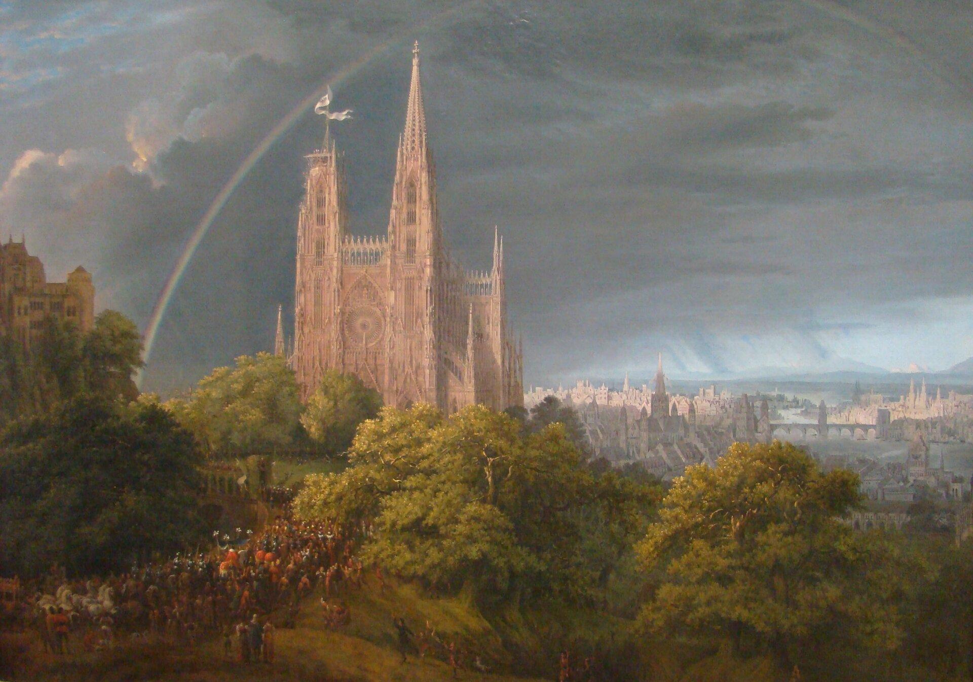 Średniowieczne miasto nad rzeką 2. Źródło: Karl Friedrich Schinkel, Średniowieczne miasto nad rzeką, 1815, olej na płótnie, Staatliche Museen zu Berlin, domena publiczna.
