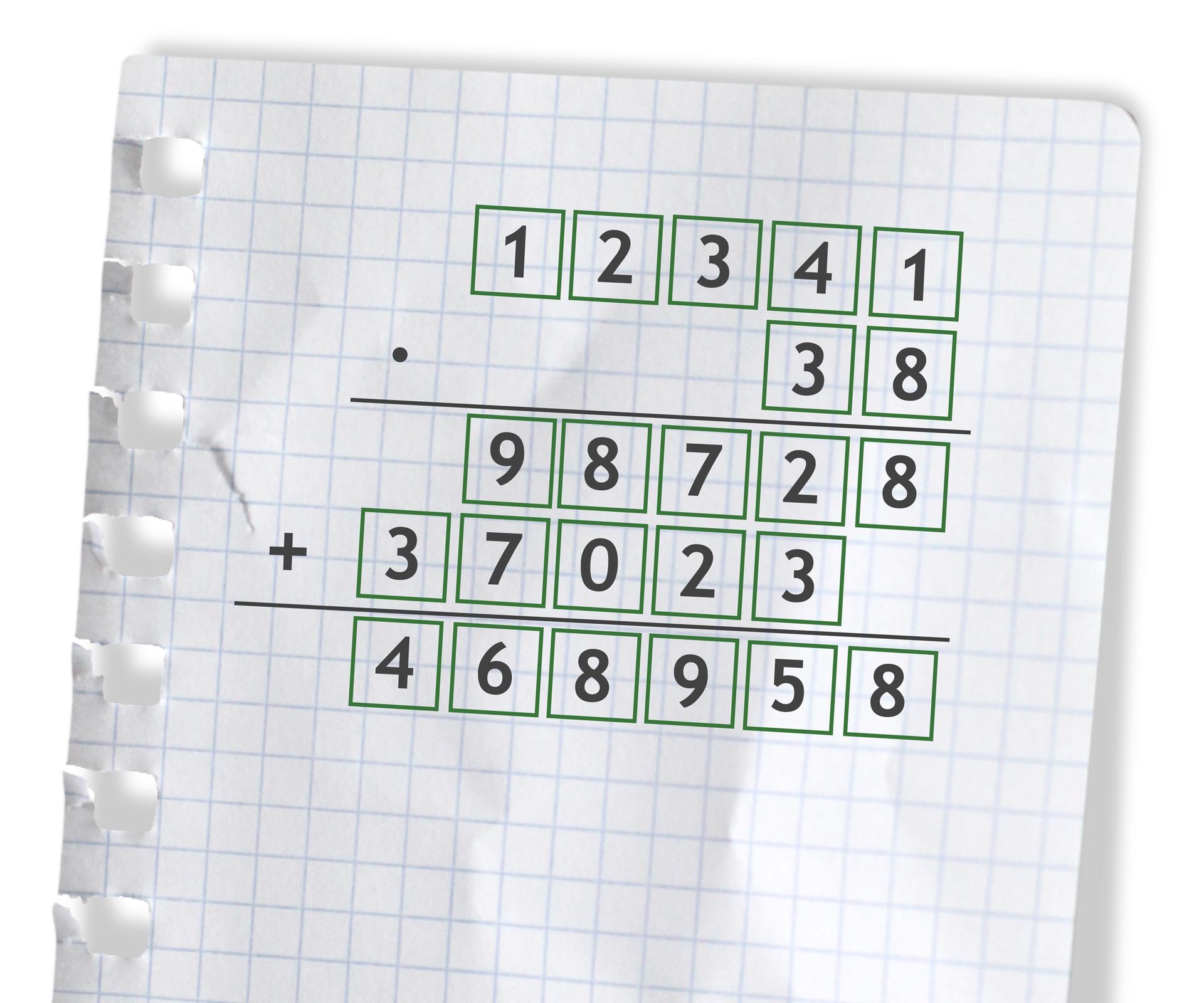 Przykład: 12341 razy 38 =468958. Rozwiązanie zadania podpunkt f.