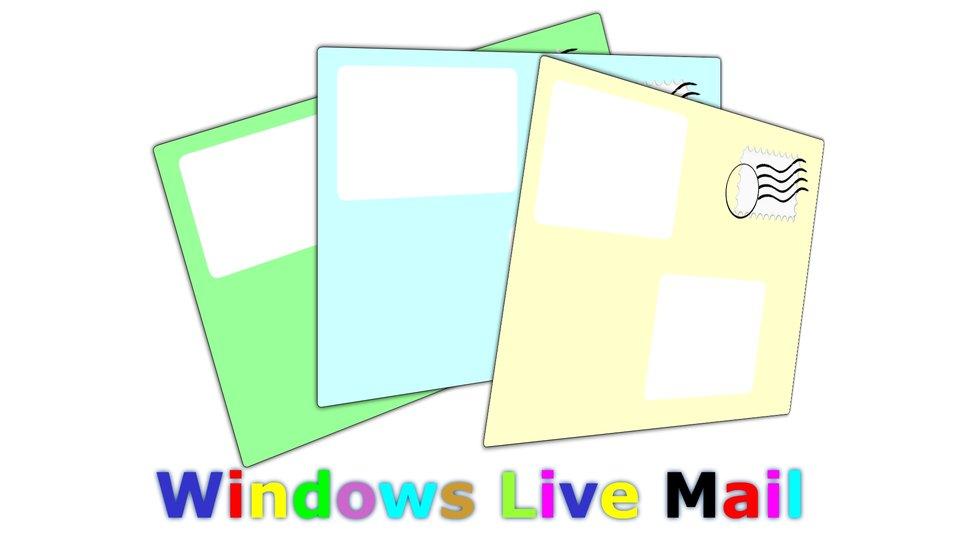 Ilustracja przedstawiająca trzy koperty ikolorowy napis Windows Live Mail