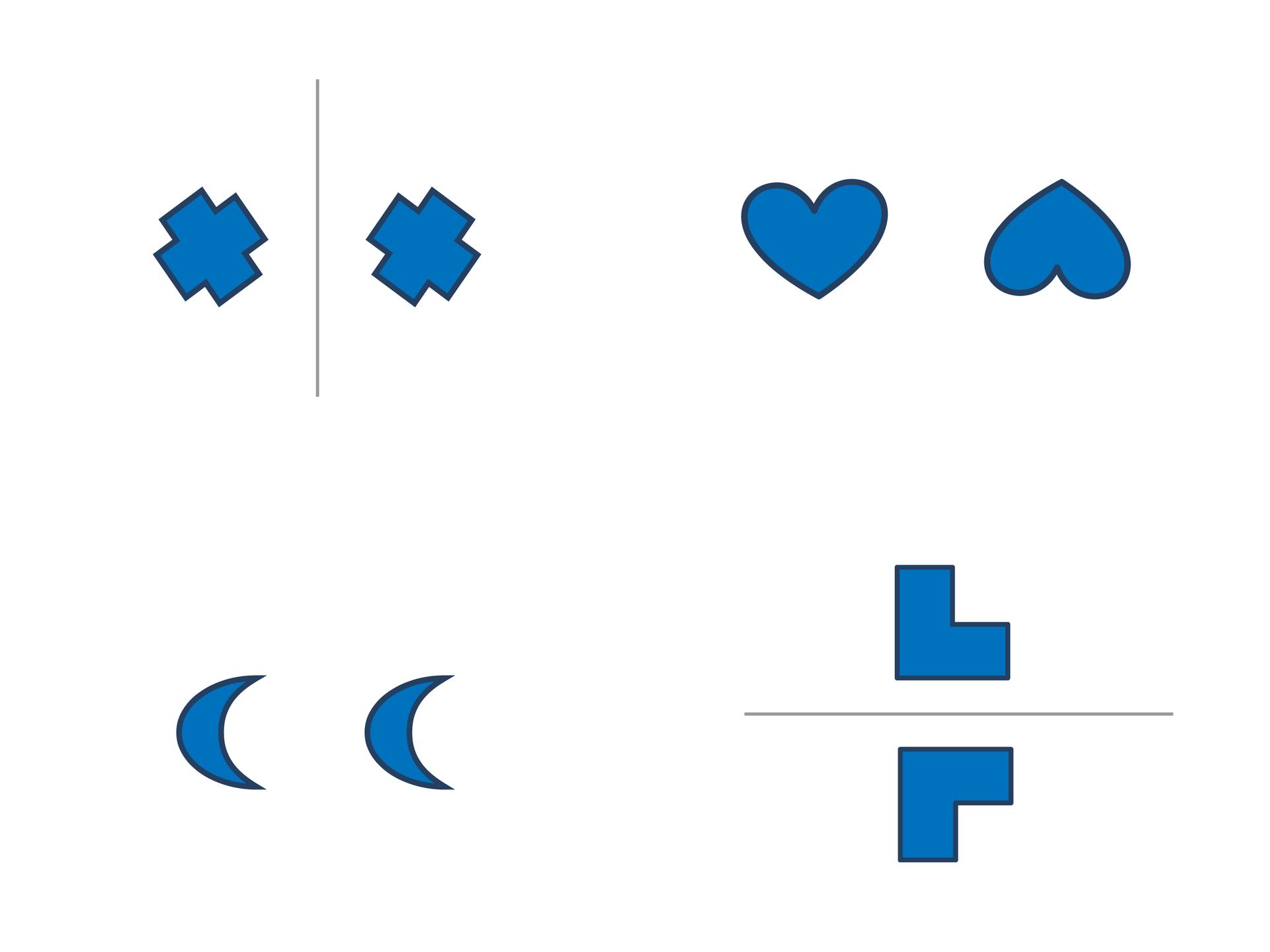 Rysunki figur. Dla sześciokątów idwunastokątów zaznaczono proste, względem których figury są symetryczne. Rozwiązanie zadania.