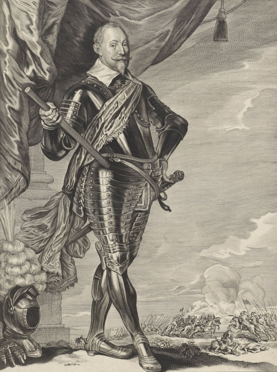 Portret Gustawa Adolfa, króla Szwecji. Król przedstawiony jest wpozycji stojącej, wlekkim wykroku. Ubrany jest wpełną zbroję - hełm irękawice pancerne leżą obok nóg. Wtle, wdole widać potyczkę kawalerii.