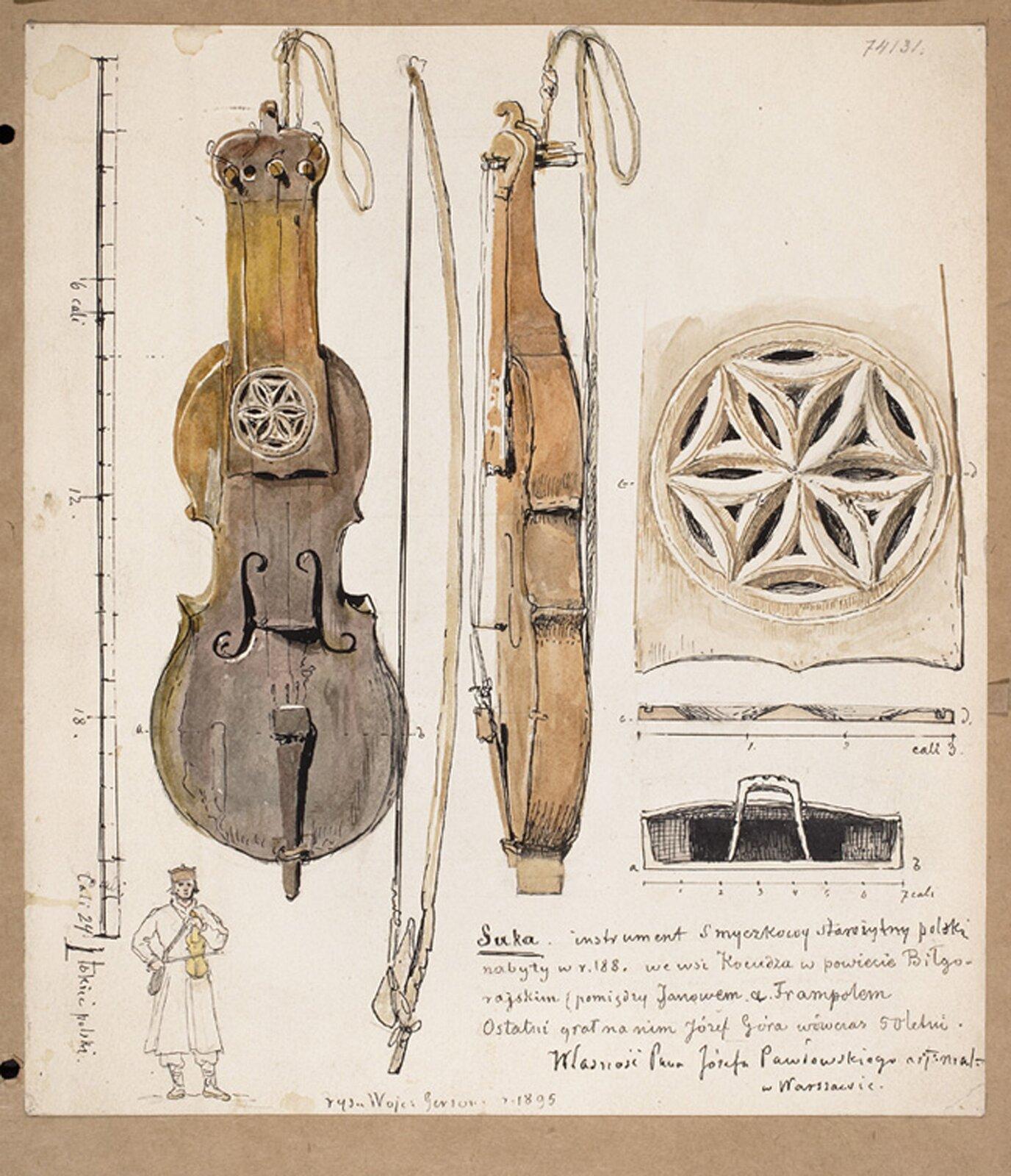 Ilustracja przedstawia akwarele ukazującą Sukę biłgorajską, autorstwa Wojciecha Gersona.  Staropolski smyczkowy instrument przyozdobiony jest ornamentem geometrycznym wformie rozety sześcioramiennej (tzw. gwiazda heksapentalna).