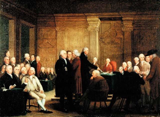 Drugi Kongres Kontynentalny Drugi Kongres Kontynentalny – obraz nieznanego autora zkońca XVIII w. Źródło: Robert Edge Pine, Edward Savage, Drugi Kongres Kontynentalny, 1784-4801, olej na płótnie, US Library of Congress, domena publiczna.