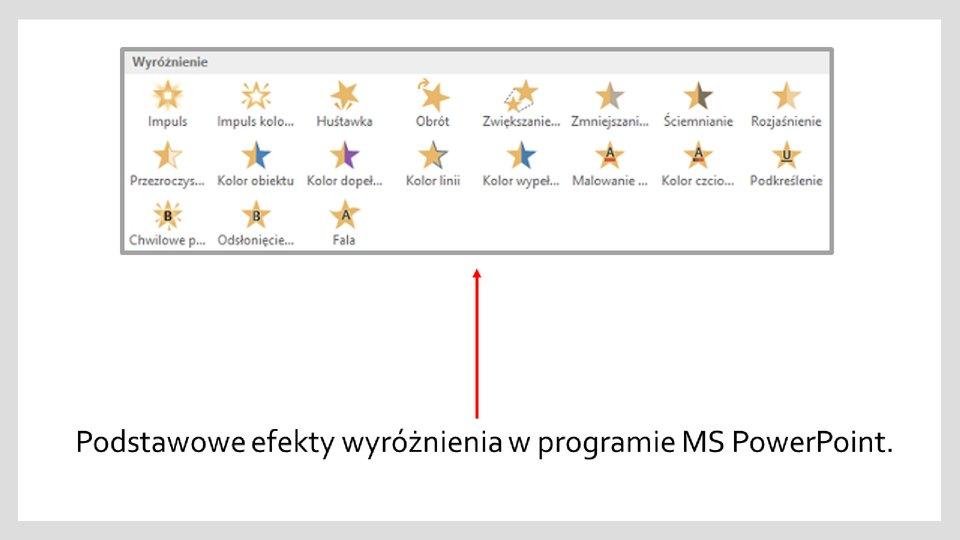Slajd 1 galerii zrzutów okien zefektami wyróżnienia iwyjścia wprogramie MS PowerPoint
