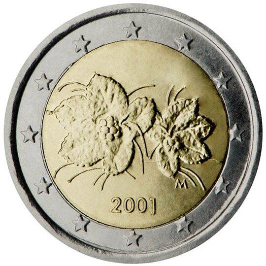 Ilustracja przedstawia rewers monety owartości jeden euro. Na środku dwa kwiaty pod spodem data dwa tysiące jeden. Wszystko otacza dwanaście gwiazd.