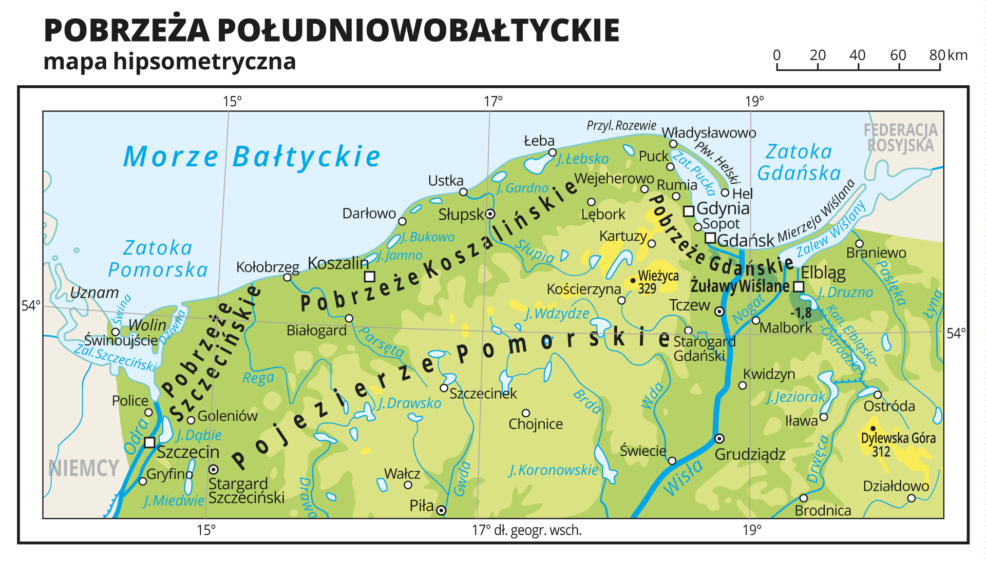 Ilustracja przedstawia mapę hipsometryczną Pobrzeży Południowobałtyckich na terenie Polski. Na mapie dominuje kolor zielony oznaczający niziny. Oznaczono iopisano miasta, rzeki, jeziora iszczyty. Opisano pobrzeża ipojezierza, morze, zatoki iwyspy. Opisano państwa sąsiadujące zPolską. Dookoła mapy wbiałej ramce opisano współrzędne geograficzne co dwa stopnie.