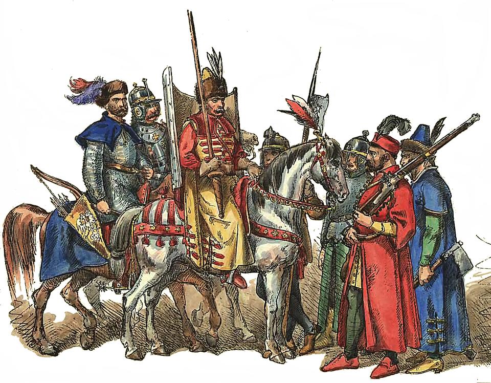 Wojskokwarciane występowało wKoronie izłożone było głównie zjazdy narodowej (m.in. husaria ijazda kozacka) oraz niewielkiej ilości piechoty iartylerii. Wojskokwarciane występowało wKoronie izłożone było głównie zjazdy narodowej (m.in. husaria ijazda kozacka) oraz niewielkiej ilości piechoty iartylerii. Źródło: Jan Matejko, przed 1893, domena publiczna.