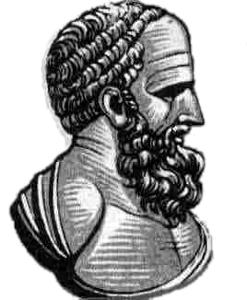 """Ilustracja przedstawia rysunek Hipparcha zNikei. Widoczny prawy profil. Mężczyzna wwieku ok. 50 lat. Włosy kręcona, broda długa gęsta. Czoło wysokie. Nos długi, prosty, """"rzymski"""". Uszy małe."""