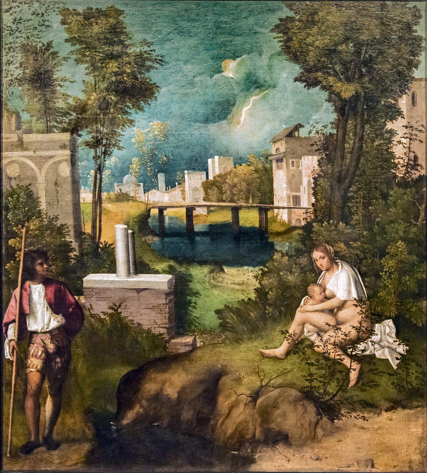 """Ilustracja interaktywna okształcie pionowego prostokąta przedstawia obraz Giorgione'a """"Burza"""". Ukazuje pejzaż zpostaciami. Niebo jest ciemne, zkłębiącymi się, burzowymi chmurami. Po prawej stronie siedzi kobieta karmiąca piersią dziecko. Jest naga, ma na sobie tylko przerzuconą przez ramiona białą chustę. Twarz kieruje wstronę widza. Po lewej stronie stoi mężczyzna, który patrzy na karmiącą kobietę. Ubrany jest wbiałą koszulę iczerwoną pelerynę. Ma spodnie przed kolana, awprawej ręce trzyma długi kij. Za nimi znajdują się architektoniczne ruiny wstylu antycznym, dalej rzeka zmostem, awtle rozciąga się widok miejski."""