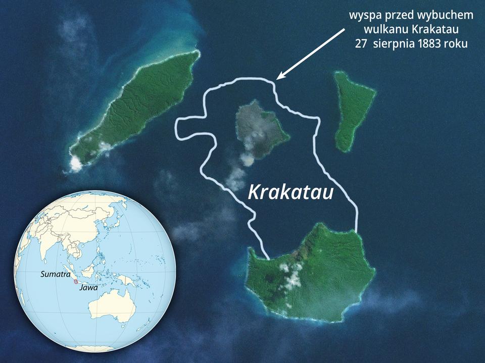 Zdjęcie satelitarne. Ciemnogranatowe morze. Kilka wysp porośniętych roślinnością. Biały kontur obejmujący dwie odległe wyspy. To kształt wyspy przed wybuchem wulkanu Krakatau. Wlewym dolnym rogu miniatura globu zzaznaczoną lokalizacją sfotografowanego miejsca – Sumatra, Jawa.