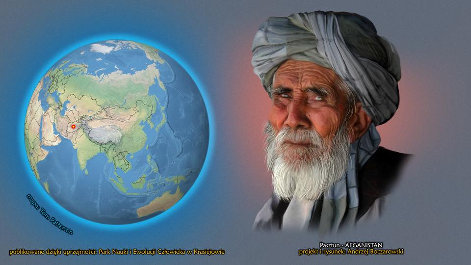 Na ilustracji kula ziemska, punktem zaznaczony Afganistan. Obok twarz starego mężczyzny zsiwą brodą. Na głowie ma turban. Podpis – Pasztun.