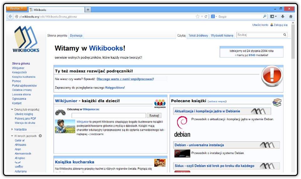 Zrzut okna strony https://pl.wikibooks.org